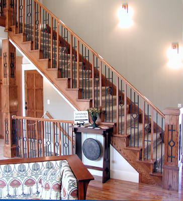 Wood and Wrought Iron Baluster Combination