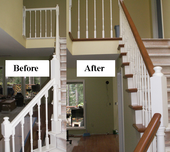 Before and after restaining stair railing