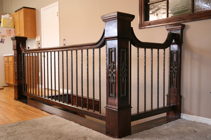 Newel post height calculating handrail newel post height for Interior post designs