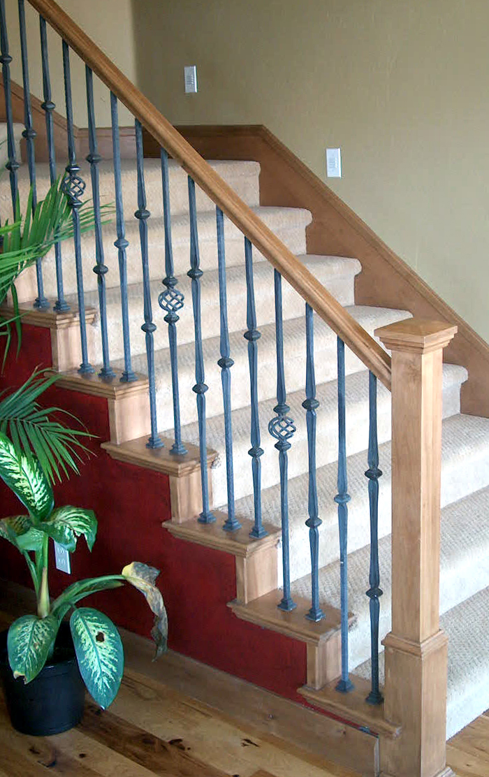 Wooden Stair Railing Charming Interesting Awesome Beige