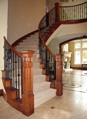 Combining Wood Stair Parts With Wrought Iron Balusters