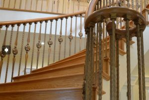 Wood Handrail with Volute Handrail Fitting