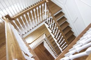 oak staircase with white balusters