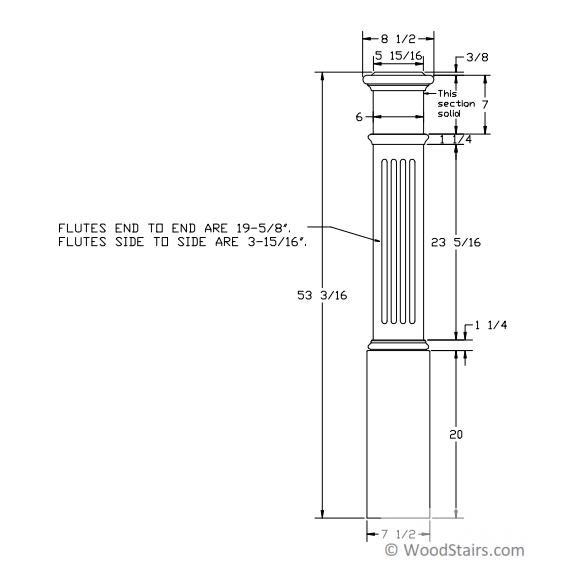 4093 Fluted Panel Box Newel Wood Stair Box Newel 4093 Box