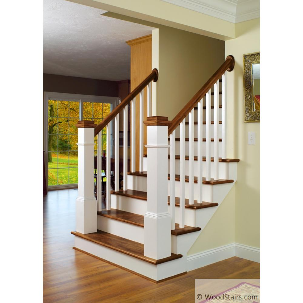 6010 Series Hardwood Red Oak Stair Handrail Part Unfinished 72-D3 Red Oak Dowel Top Newel, 3