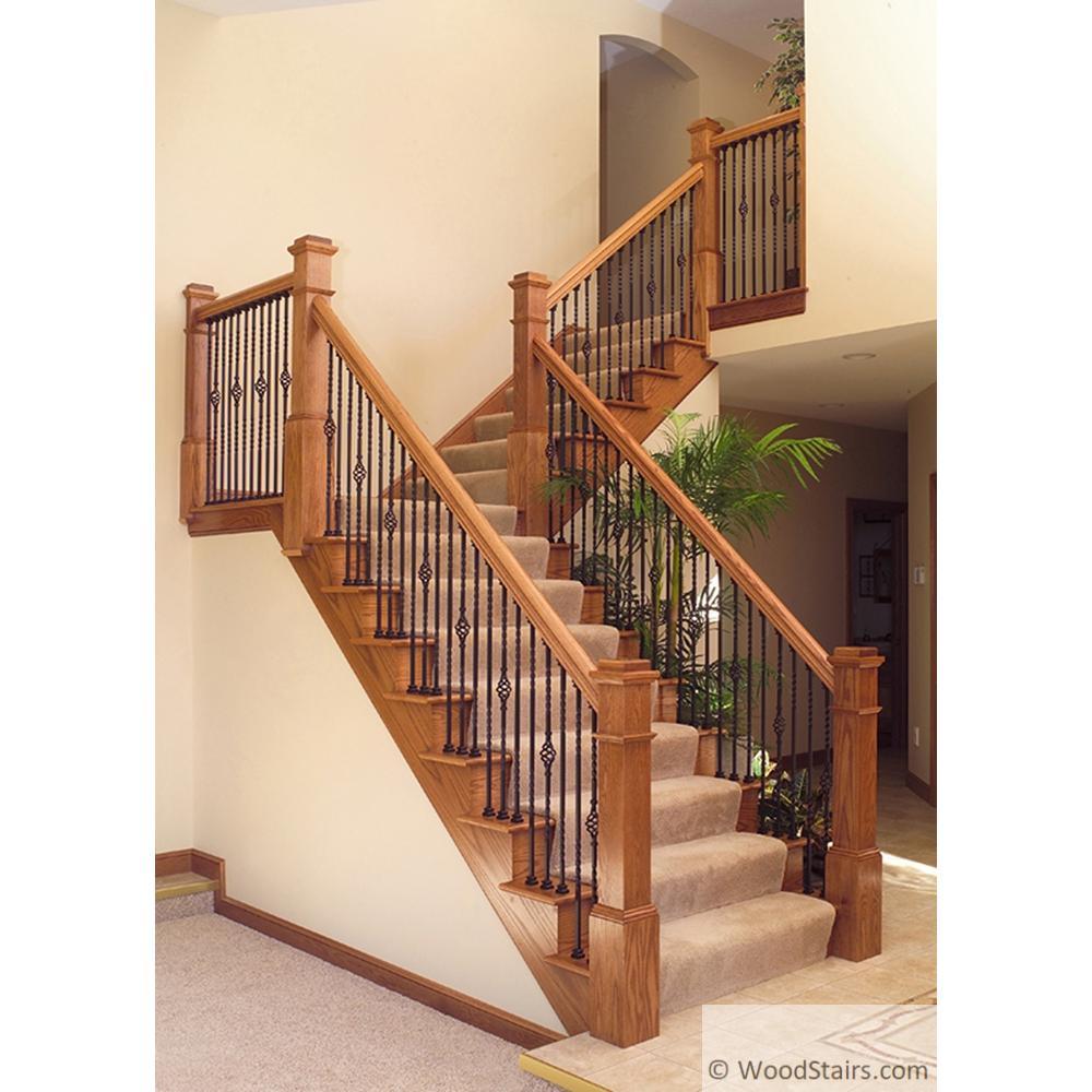 LI-1BASK44 Twist And Basket Baluster Wood Stairs Wrought