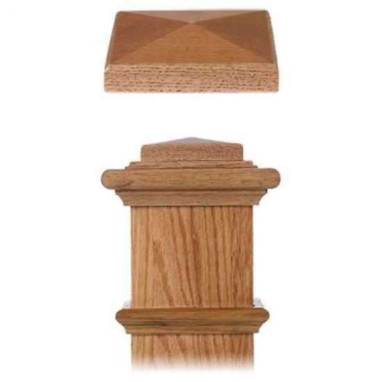 Sloid Alder Flared Stair With Custom Flat Panel Box Newel: 9001 Newel Top Plate Wood Stair Newel Accessories 9001